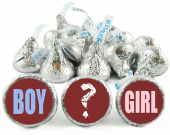Set of 108 - Gender Reveal Stickers for Hershey's Kisses. Gender Reveal Baby Shower Kisses - Boy or Girl Party Favors - #IDGBS408