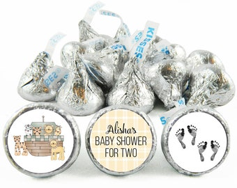 Set of 108 - Noah's Ark Twin Stickers for Hershey's Kisses. Twin Baby Shower Kisses - Noah's Ark Baby Shower Favors - #IDTBS500