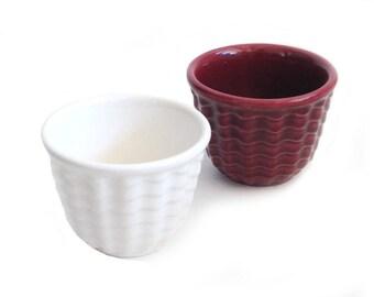 Gladding McBean Cocinero Custard Cup White Burgundy Franciscan 1930s Pottery