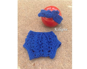 Newborn gift Diaper cover and knot headband set Royal Blue Shimmer soft Yarn Baby set 0-3 month Newborn Baby Outfit Royal Blue Shimmer Yarn
