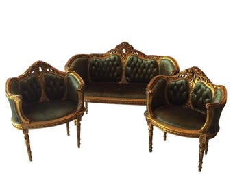 Green velvet tufted settee and accent chairs. Interior Design. Fig House Vintage. Atlanta. Persian style