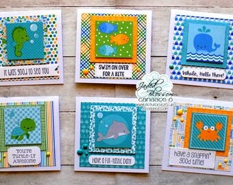 set of 6 Sealife hand stamped cards, 4x4 cards, Turtle, Dolphin, Seahorse, Fish, Whale, Crab