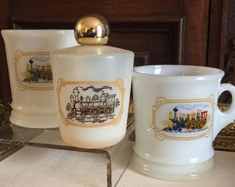 Vintage 1970s Avon Shaving Mugs and Leather Scent After Shave Bottle Train Motif