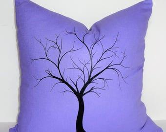 Purple Periwinkle Grape Black Custom Tree Screenprint Home Decor by HomeLiving Size 18x18