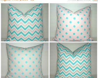 FALL is COMING SALE Pink Blue Grey Chevron Polka Dot Pillow Covers Throw Pillow Baby Girl Boy Nursery Baby Room 18x18