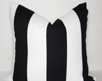 FALL is COMING SALE Outdoor Black & White Large Stripe Pillow Cover Deck Patio Pillow Cover Choose Size