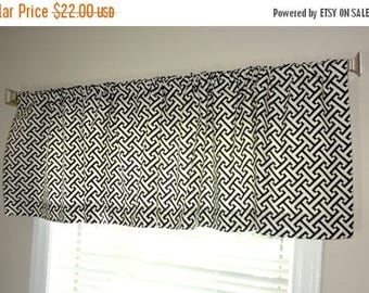 FALL is COMING SALE Sale Curtain Valance Topper Window Treatment 53x15 Waverly Cross Section Black & White Geometric Valance