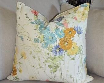 Decorative Flower Pillow Cover Gold Yellow Blue Rose Stemmed Flower Throw Pillow Choose Size
