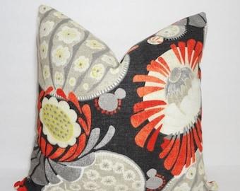 SPRING FORWARD SALE Decorative Waverly Copacabana Orange Charcoal Grey Floral Pillow Cover Orange Flower Throw Pillow 12x18 18x18
