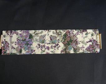 Manchette Bracelet Peyote botanique INBW multicolore