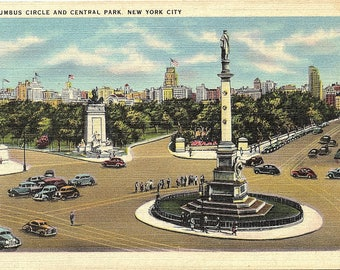 New York City, New York, Columbus Circle, Central Park - Vintage Postcard - Postcard - Unused (B)