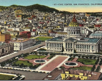 San Francisco, California, Civic Center - Vintage Postcard - Postcard - Unused (Q)