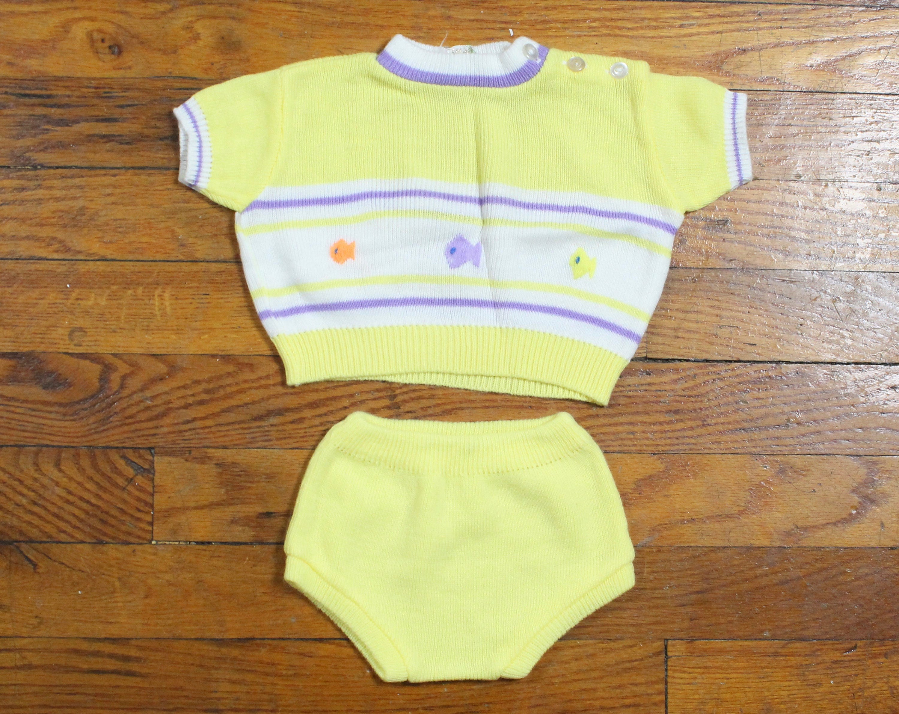 Vintage Baby Girl Outfit Sweater Jumper Set Diaper Cover Shirt Top