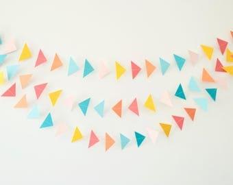 Rainbow Triangle Garland, Triangle Garland, Pink & Yellow Triangles, Baby Shower Garland, Wedding Garland, Wedding Decor, Nursery Decor