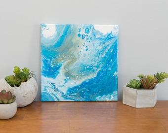 Ocean Abstract Art, Blue Abstract Painting, Acrylic Painting, 10x10 painting, Small Painting, Affordable Art, Blue Wall Art, Modern Art