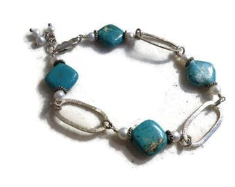 Turquoise Bracelet - White Pearl Gemstone Jewelry - Sterling Silver Jewellery - Funky - Beaded - Fashion