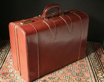 Vintage leather suitcase, saddle leather suitcase, leather luggage 21""