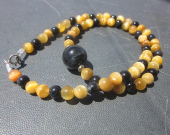 golden and blue Tiger's Eye Necklace