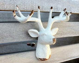 ON SALE White Deer Knob Drawer Cabinet Dresser Knob Rustic