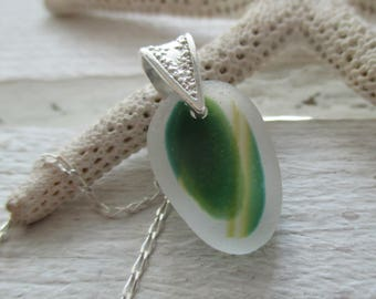 Green & Yellow Sea Glass Sterling Silver Necklace