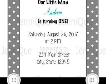 Printable 1st Birthday Invitation, BowTie and Suspenders Printable Invite, Boys 1st Birthday Invitation