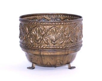 Vintage Brass Planter Pot Made in England   Ornate Plant Holder with Raised Designs and Claw Feet   Gold Pot for Holding Potted Plants