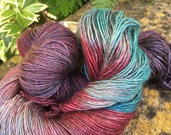"120grms hand painted Merino /silk/yak  singles  "" Lavenders Blue"""