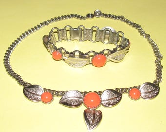 Vintage Silver Tone Necklace and Bracelet with Coral Lucite / Silver Leaves