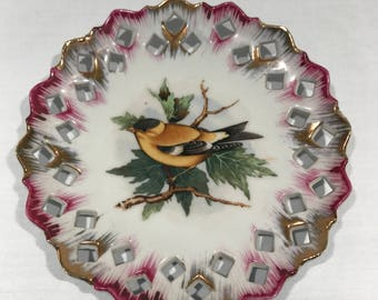Gold Finch Reticulated Decorative Plate, Vintage Plate, Decorative, Bird Plate, Purple, Gold, Display Plate, Vintage Ceramic