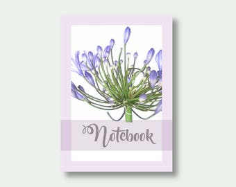 A6 Flower Notebook, Pretty Journal, Floral Notebook, Flower Journal, Agapanthus, Gift For Gardener, Note Book