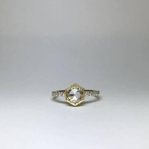 Hexagon Rose Cut Engagement Ring