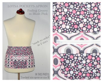 Lotsa Pockets Apron, Waitress- Vendor- Photographer- Teacher Apron with Zipper Pocket - FEELING GROOVY blush pink, made-to-order in 2 sizes