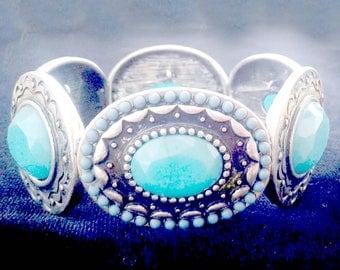 Turquoise Bracelet Stretchy Retro Vintage