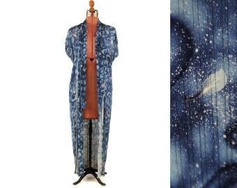 Vintage 1920's Raw Silk Navy Blue Stary Night Swirl + Leaf Novelty Print Art Nouveau Kimono Robe Duster