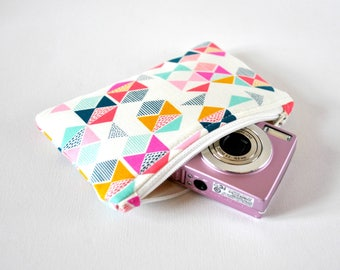 Flag triangle protective gadget padded camera make up cosmetics pouch aqua green, mustard, pink arrow print.