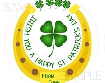 St. Patricks Day Sticker, St. Patty Party, Four Leaf Clover Sticker, Green Shamrock, St. Patty's Party Favor, Green Sticker, SET OF 24 (545)
