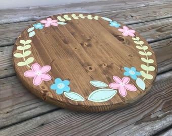 Lazy Susan // Table Top Decor // Kitchen Decor // Floral Wreath