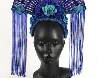 Blue Fan Headdress