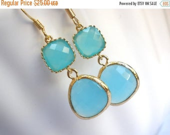 SALE Blue Earrings, Aqua Blue Earrings, Gold Earrings, Mint Earrings, Bridesmaid Earrings, Bridesmaid Jewelry, Bridal Jewelry, Bridesmaid Gi