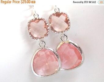 SALE Pink Earrings, Peach Earrings, Coral, Champagne, Silver Earrings, Bridesmaid Jewelry, Bridesmaid Earrings, Bridal Jewelry, Bridesmaid G