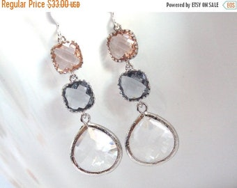 SALE Glass Earrings, Peach Earrings, Gray, Grey, Champagne, Silver, Bridesmaid Jewelry, Bridesmaid Earrings, Bridal Jewelry, Bridesmaid Gift