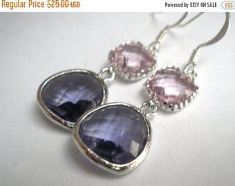 SALE Glass Earrings, Purple Earrings, Silver Pink Earrings, Purple, Tanzanite, Amethyst, Bridesmaid Earrings, Bridal Jewelry, Bridesmaid Gif