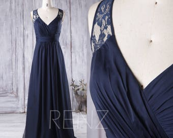 2017 Navy Blue Bridesmaid Dress Long, V Neck Wedding Dress, Lace Hollow Back Prom Dress, Chiffon Evening Gown Floor Length (J048)