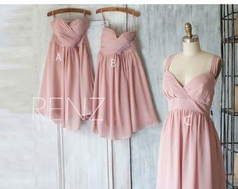 2017 Mix and Match Chiffon Bridesmaid Dress,Dusty Rose Wedding Dress, Party Dress, Formal Dress, Elegant Dress (B066/B010/F016)