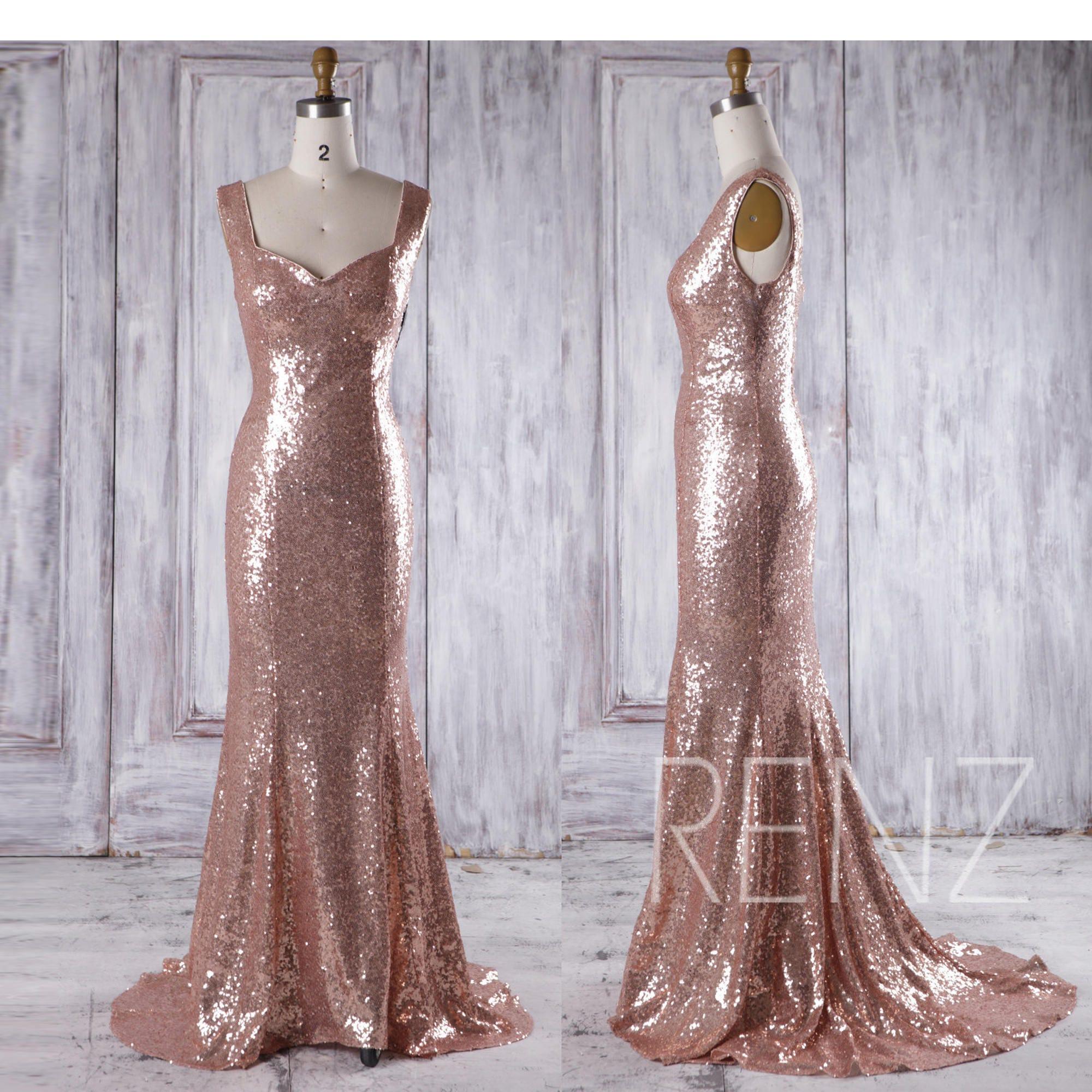 bridesmaid dress rose gold long evening dress with trainopen, Badezimmer ideen