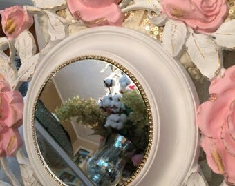 A vintage Shabby chic baroque ceiling medallion, pink roses, beautiful