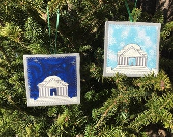 Ornament, Jefferson Memorial ornament, handmade sewn fabric ornament, 4x4 inches, hangs on satin ribbon, your choice of sky color