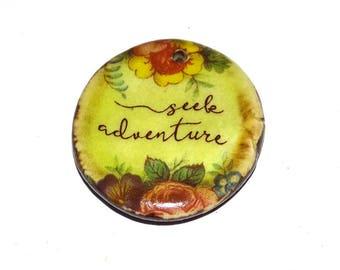 Ceramic Quote Pendant Floral Message Affirmation Handmade Focal