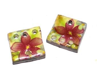 Ceramic Earrings Charms Pair Handmade Rustic Lilac Floral