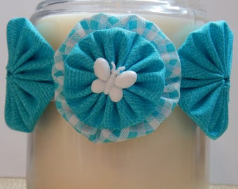 Yo Yo Candle Tie with White Glittery Butterfly on Teal